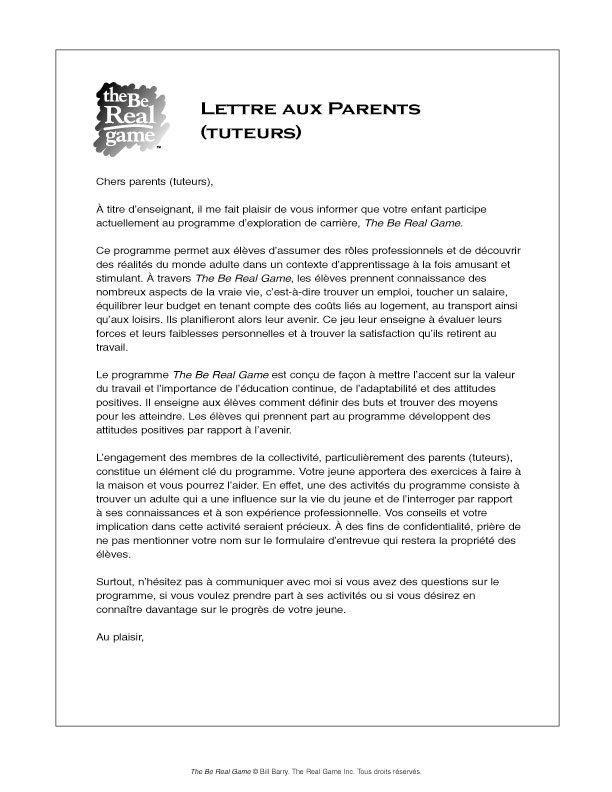 Real game canada this letter can be distributed as is or copied on school letterhead and signed by the facilitator for immersion classes please see a french translation of spiritdancerdesigns Images
